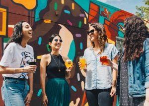 group of girls enjoying non alcoholic beer