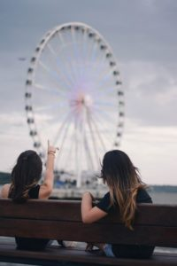 sober dating activities, two women sightseeing