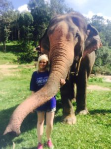 Hayley in Thailand with elephant