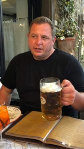 Graham drinking beer before his challenge
